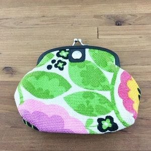 Spartina linen & leather floral coin purse
